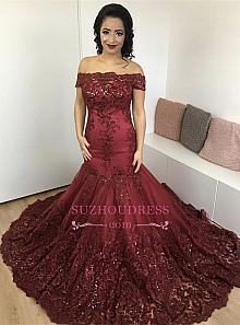ce21c49e84d Sa  suzhoudress.com.  189 Glamorous Burgundy Mermaid Appliques Lace Off-the- Shoulder ...