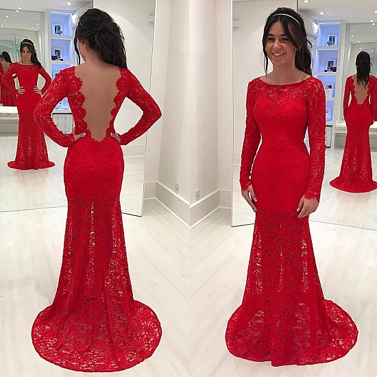 988190bd7ed  169 Elegant Red Mermaid Lace Prom Dresses 2018 Long Sleeves Scoop Evening  Gowns na prom dress.