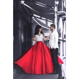 df9df8314be Off the Shoulder Handmade Flowers White Crop Top Red Satin Skirt Two Piece  Prom Dress WNPD0318 na prom dresses.